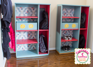 Some upcycled furniture and Wallternatives Vinyl Create a Beautiful Organization Station http://www.cupcakesandcrowbars.com