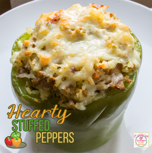 Hearty Stuffed Peppers via http://www.cupcakesandcrowbars.com @cupcakescrowbar